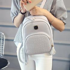 2017 Women Leather Backpacks Alligator Tas Buaya Pola Tas Sekolah untuk Remaja Girls Lady's Fashion Siswa Bagpack Mochila-Intl