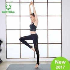 Dapatkan Segera Vansydical Wanita Mesh Splicing Legging Elastisitas Tinggi Cepat Kering Bernapas Kebugaran Yoga Ketat Celana