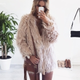 Wanita Musim Dingin Fashion Faux Bulu Lengan Panjang Jaket Padat Warmcoat Pakaian Luar Khaki Tiongkok Diskon 50
