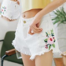 Harga 2017 Wanita S Fashion Denim Shorts Bordir Lubang Slim Celana Kaki Yang Lebar Intl Oem Online