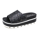 Harga 2017 Wanita Fashion Musim Panas Dangkal Mulut All Match Sandal Gaya Baru Muffin Sequins Peep Toe Sandal Intl Seken
