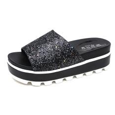 Beli 2017 Wanita Fashion Musim Panas Dangkal Mulut All Match Sandal Gaya Baru Muffin Sequins Peep Toe Sandal Intl Oem Murah
