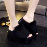 Dimana Beli 2017 Womens Wedge Casual Thick Sandal Sepatu 7 5 Cm High Heels Faux Fur Sandal Hitam Intl Not Specified