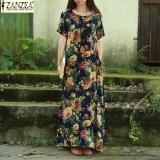 Review 2017 Zanzea 2 Warna Womens Summer Kebesaran Floral Cetak Lengan Pendek Kasual Longgar Kaftan Maxi Long Gaun Vestido Plus Ukuran L 5Xl Navy Intl Zanzea