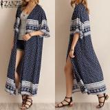Harga 2017 Zanzea Wanita Motif Bunga 3 4 Kasual Lengan Panjang Cardigan Vintage Terbuka Depan Kimono Atasan Longgar Panjang Coat Jaket Navy Intl Dan Spesifikasinya