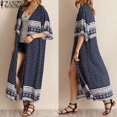 2017 zanzea Wanita Motif Bunga 3/4 Kasual Lengan Panjang Cardigan Vintage Terbuka Depan Kimono Atasan Longgar Panjang Coat Jaket (navy) -Intl