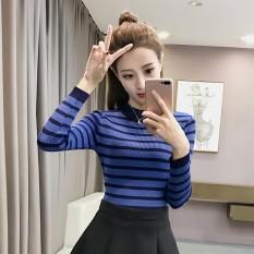 Diskon 2017Chic Perempuan Bergaris Slim Terlihat Langsing Merajut Kemeja Sweter Biru Baju Wanita Baju Atasan