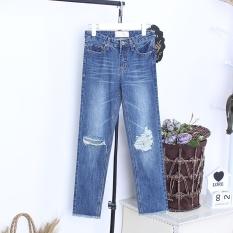 2017 Musim Panas Tertekan Ankle Panjang jeans Denim Blue Women Gaya Pacar Ukuran Besar Skinny Frayed-Ehem-Internasional