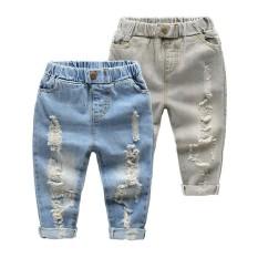 2018 Baru Anak Katun Celana Boy Lubang Di Jeans-Intl