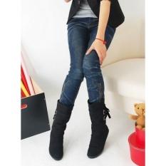 2018 Gaya Baru Berambut Pendek Flat Boots Fashion Musim Dingin Knight Sepatu Bot Wanita Sepatu (Hitam) Menjual-Intl