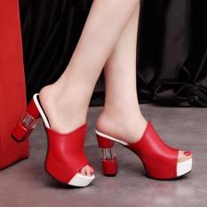 2018 Sandal Wanita Sepatu Musim Panas Modis Tebal Heel Zapatos Mujer Berkualitas Tinggi Kepala Ikan Mulut Seksi Bertumit Tinggi Sepatu wanita-Internasional