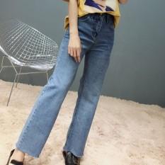 2018 Musim Semi Korea Dicuci Jeans untuk Wanita Longgar Lebar Kaki Celana Ripped Plus Ukuran Pacar Jeans Perempuan Tide Celana Panjang Baru -Internasional