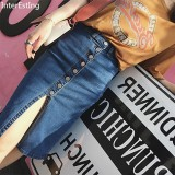 Beli 2018 Summer Lady Elastis Denim Rok Midi Kausal Wanita Modis Slim Single Breasted Celah Pensil Jeans Rok Intl Nyicil