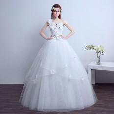 2018 Putih Merah Satu Bahu Payet Gaun Bola Pernikahan Putri Pernikahan Gaun Pengantin Gaun-Internasional