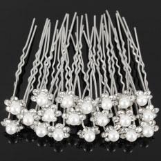 Review Tentang 20 Buah Kristal Bridal Pernikahan Bunga Mutiara Imitasi Pin Rambut Klip Gadis Pengiring Pengantin Intl