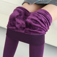Beli 230G Tambah Beludru Injak Kaki Hangat Celana Legging Ungu Baju Wanita Celana Wanita Pakai Kartu Kredit