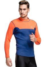 Cara Beli 2Mm Neoprene Pakaian Selam Pria Swimwear Menyelam Basah Setelan Surf Windsurf Kemeja Lengan Panjang Rashguard Orange Blue Intl