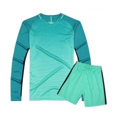 2/Buah Set Pria Sepak Bola Kaus Lengan Panjang Atasan & Celana Pendek Cepat Pengeringan Orang Dewasa Sepak Bola Latihan Pakaian Langit biru-Internasional