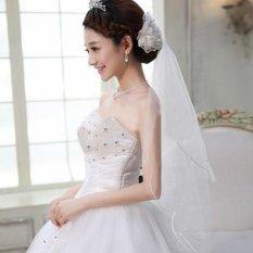 2 Pcs 3 Tier Pernikahan Bridal Siku Panjang Pendek Satin Pinggir Jilbab dengan Sisir Baru Merah-Internasional
