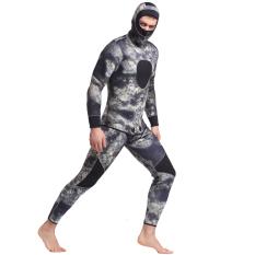 2pcs 3mm Neoprene Wetsuit penuh tubuh pria berenang Scuba Snorkeling menyelam basah setelan baju renang hangat masker Spearfishing Swimwear penuh Suit-camo - intl