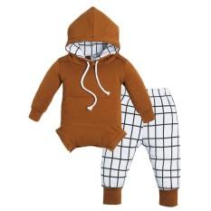 2 Pcs Musim Gugur Pakaian Bayi Set Panjang Lengan Jumper Bayi + Celana Kotak-kotak-Intl