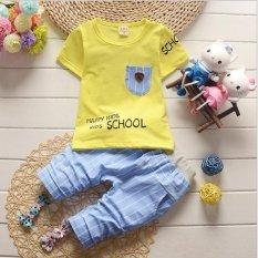 Review 2 Pcs Boy Fashion T Shirt Pakaian Saku Celana Bayi Pakaian Stripe Blue Pants Baby Suit Kuning Intl Oem