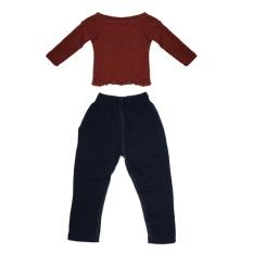 2 Pcs Anak-anak Girls Panjang Lengan Rajutan Sweater Top + Panjang Celana Kain Set (merah + Hitam) -Intl