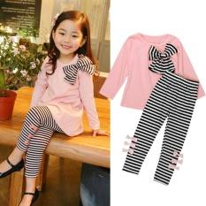 2 Pcs Kids Bayi Gadis Pakaian Lengan Panjang Ikatan Simpul Dress T-shirt + Stripe Celana Set-Intl
