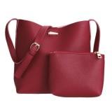 Beli 2Pcs New European Women Pu Leather Bag Barrel Shoulder Bag Handbag Tote Intl