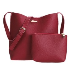Review 2Pcs New European Women Pu Leather Bag Barrel Shoulder Bag Handbag Tote Intl Vakind Di Tiongkok