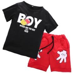 2 PCS Anak Balita Baby Boy Summer T-shirt Tops + Celana Pendek Pakaian Pakaian Set (hitam)-Intl