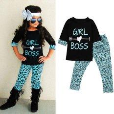 2 Pcs Anak-anak Balita Bayi Perempuan Pakaian T-shirt Tops Dress + Panjang Celana Pakaian Set-Intl