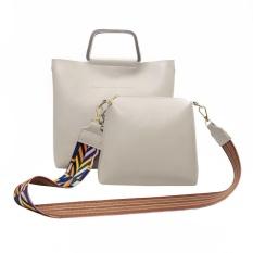 Harga 2 Pcs Wanita Pu Kulit Casing With Colorful Strap Clutch Bag Grey Termurah