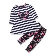 2 Pcs/set Katun Musim Gugur Bayi Gadis Pakaian Set Baru Lahir Pakaian Set untuk Bayi Suka Pakaian Setelan Garis Atasan Bunga Cetak -Internasional