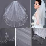 Beli 2 T Tepi Manik Manik Bordir Mutiara Bridal Pernikahan Siku Kerudung Dengan Sisir Putih Intl Baru