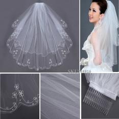 Ulasan Lengkap 2 T Tepi Manik Manik Bordir Mutiara Bridal Pernikahan Siku Kerudung Dengan Sisir Putih Intl