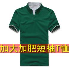 Beli 2Xl 5Xl Kapas Jala Taobao Untuk Meningkatkan Lengan Pendek T Shirt Kerah Stand Up T Shirt Hijau Kredit