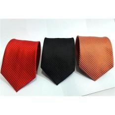 Beli 3 Pcs Dasi Pria Salur Slim Tanggung Hitam Merah Orange Cicilan