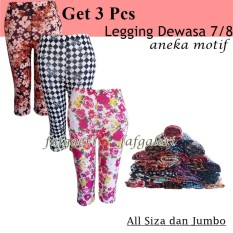 3 PCS Legging 7/8 Motif Celana Wanita Remaja Dewasa