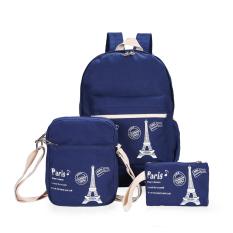 3 Pcs/set Korea Gaya Preppy Cetak Wanita Kanvas Ransel Sekolah Tas Buku untuk Remaja Fashion Cute Laptop Shoulder Bag Mochila -Intl