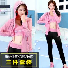 Beli 3 Pcs Set Wanita Cepat Pengeringan Yoga Suit Ladies Tracksuit Coat Pelatihan Celana Pant Sport Bra Pengetatan Pakaian Untuk Kebugaran Jogging Rose Pink Intl Cicilan