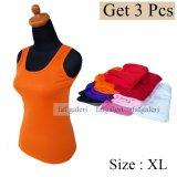 Ulasan Tentang 3 Pcs Tank Top Tali Besar Wanita Bahan Kaos All Size Fit To L