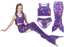 Ongkos Kirim 3 Pieces Set Mermaid 110 140 Cm Tinggi Girls B*K*N* Swimsuits Warna Ungu Intl Mikanoni Di Tiongkok