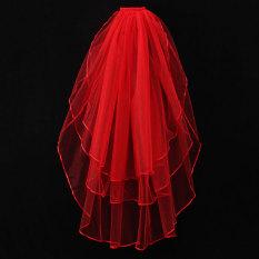 3 Tier Pernikahan Bridal Siku Panjang Pendek Satin Pinggir Jilbab dengan Sisir Baru Merah (Intl)-Intl