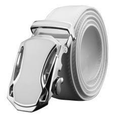 360DSC 110 Cm Sabuk Kulit Pria Bisnis Otomatis Paduan Buckle Belt W201-Putih-Intl