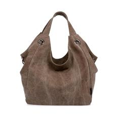 360DSC Wanita Besar Kapasitas Murni Warna Kanvas HOBO Tas Shoulder Bag Handbag-Kopi-INTL