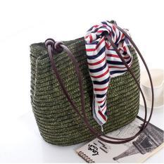 360 WISH Gaya Barat Tas Manik-manik Kayu Dekorasi Wheatgrass Bag Beach Bag-Hijau Tentara-Intl