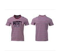 361 Derajat Pria Olahraga T-shirt Musim Panas Sejuk Kerah Bulat Striped T-shirt Lengan Pendek Pria dan Wanita Universal Model (Orange, Biru, Hijau, Merah, M-XXXL)-Intl