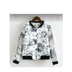 369 Jacket Casual Wanita Motif Floral Babyterry - Putih