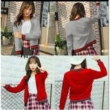 Harga 369 Jacket Kesha Casual Wanita Motif Kerah Bahan Babyterry Abu Branded